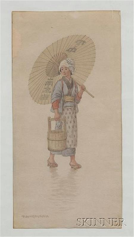 Painting, Japan, 20th century, a farm woman carrying an umbrella and wooden pail, watercolor on paper, Western style, signed T. Nakayam