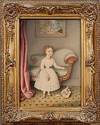 Hannah Fairfield (American, 1808-1894), Portrait of a Little Girl in White Dress Holding a Bouquet in an Empire Interior,, signed lower