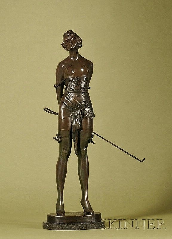 Bruno Zach (German, 1891-1935) The Riding Crop, Large Bronze Figure of a Semiclad Woman Holding a Riding Crop Signed on base. Greenish