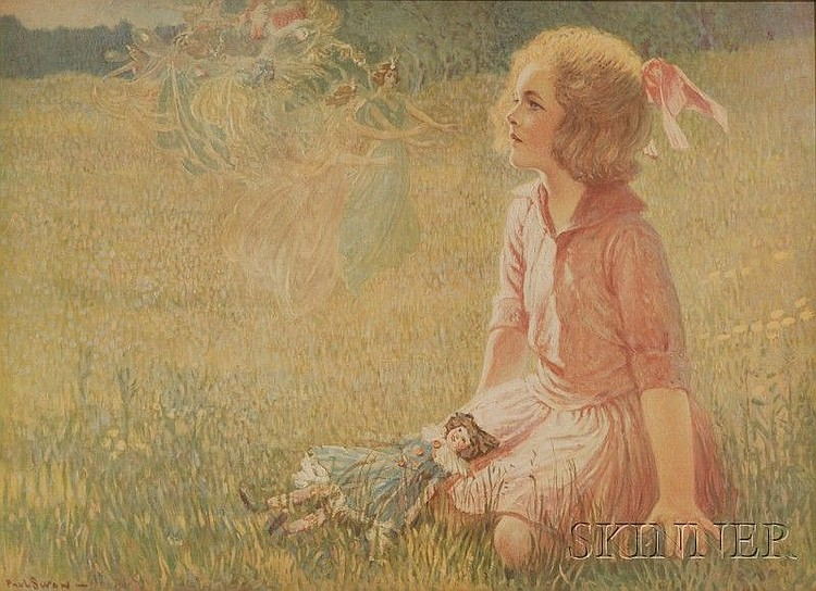 After Paul Swan (American, 1884-1972), The Little Maiden and the Fairies, Signed