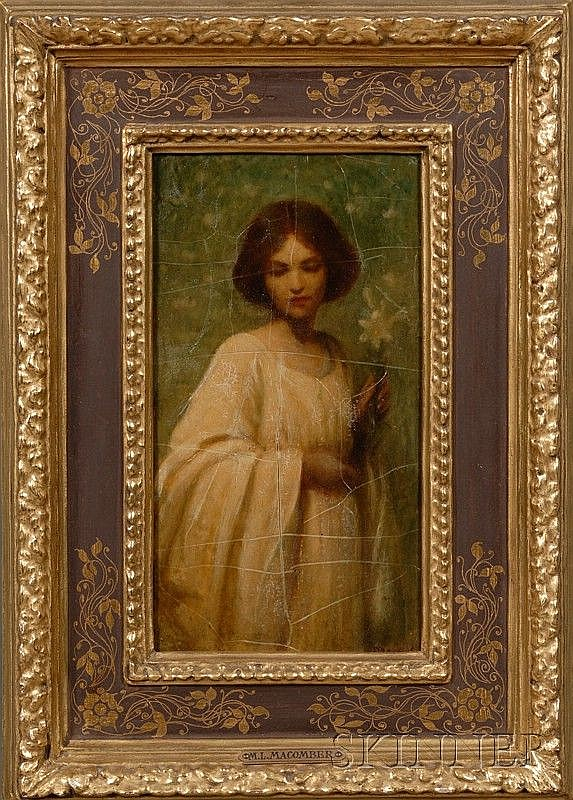 Mary Lizzy Macomber (American, 1861-1916), Young Woman in a White Dress with a Lily., Signed lower right., , Oil on panel, 7 5/8 x 4 in
