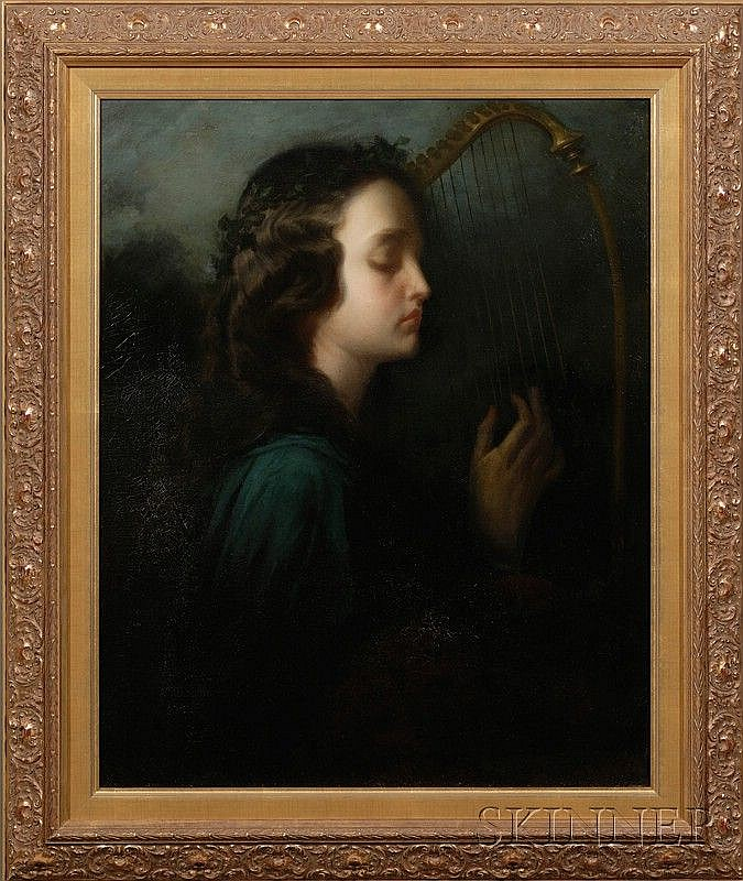 Louis Henri De Rudder (French, 1807-1881), Young Woman with Lyre, Signed and dated