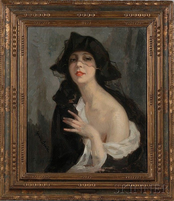 Cyprien-Eugène Boulet (French, 1877-1927), Woman with a Lace Veil, Signed