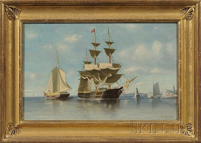 William Henry Coffin (Massachusetts, 1812-1898) Harbor Scene with Distant Lighthouse. Signed and dated
