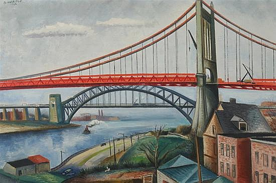 ABRAHAM HARRITON (American, b. 1893). TRIBORO BRIDGE, NEW YORK, signed and dated 1936 upper left, also titled on reverse. Oil on canvas