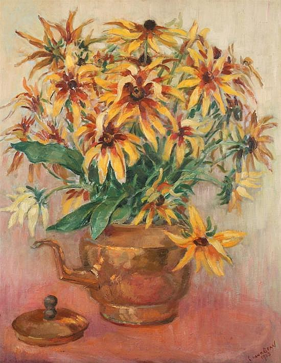 CAROLINE VAN HOOK BEAN (American, 1879-1980). VASE OF FLOWERS, signed and dated 1963 lower right. Oil on board.