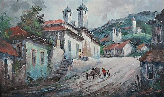 PABLO MATANIA (Brazilian, 20th century). VILA RICA DO OURO PRETO, BRAZIL, signed lower right. Oil on canvas.