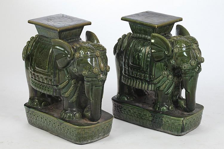 PAIR VIETNAMESE GREEN GLAZED PORCELAIN ELEPHANT-FORM STOOLS - 22 in. high. & PAIR VIETNAMESE GREEN GLAZED PORCELAIN ELEPHANT-FORM STOOLS islam-shia.org