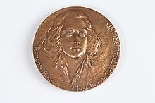 MAGDELEINE MOCQUOT (French, 1910-1991). FRANCOIS-RENE CHEVALIER DE CHATEAUBRIAND, Bronze relief medallion.