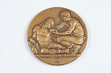 BERTHOLD NEBEL (American, 1889-1964). WORLD UNITY OR OBLIVION, Bronze relief medallion. The Society of Medalists 32nd Issue-1945 Obvers