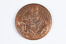 MADELEINE MOCQUOT (French, 1910-1991). VESALIUS, Pure copper relief medallion with special patina. No. 12/100. Obverse: Portrait of Ves