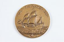 BERTHOLD NEBEL (American, 1889-1964). THE MAYFLOWER, Bronze relief medallion. Obverse: The Mayflower under full sail Reverse: Signing o