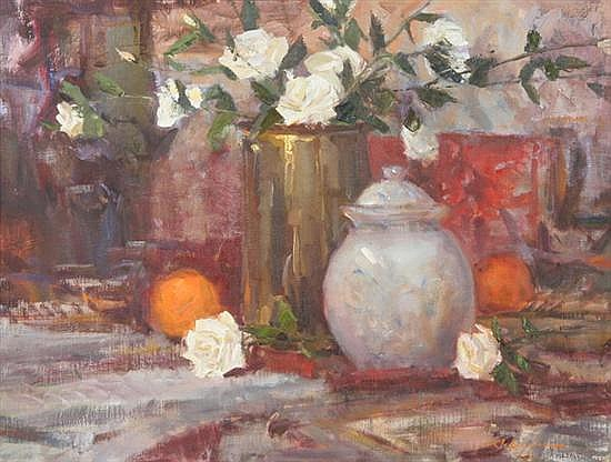 JOHN ENCINIAS (American, b. 1949). WHITE ROSES, signed lower right. Oil on canvas.