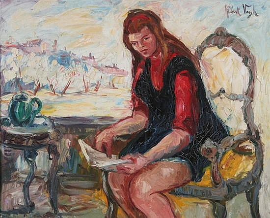 ALBERT VAGH (b. 1931). PORTRAIT OF SITTING WOMAN, signed upper right. Oil on canvas.