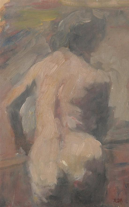 ROBERT D'ARISTA (American, 1929-1987). STANDING NUDE, initialed lower right. Oil on paper.