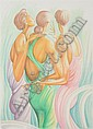ERNIE BARNES (American, b. 1939). GIRLFRIENDS, signed and titled lower right, numbered 8/245 lower left. Color lithograph., Ernie E. Barnes, Click for value