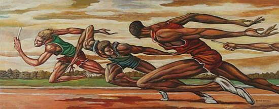 ernie barnes (american, b 1939) relay race, signed lower rernie barnes (american, b 1939) relay race, signed lower right