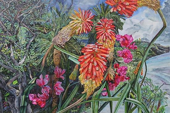 PATRICIA TOBACCO FORRESTER (American, b.1940). TROPICAL PLANTS, signed lower right. Watercolor on paper.