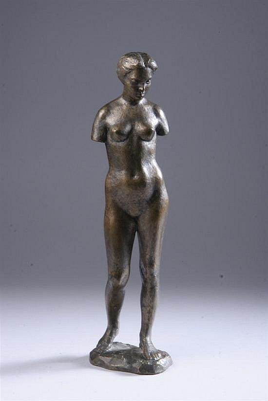 JACOB EPSTEIN (Israeli, 1921-2003). STANDING NUDE, signed on base, numbered 1/6 and dated 1951. Bronze.