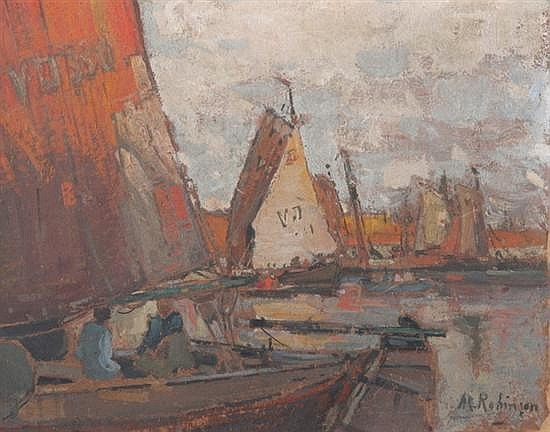 ALEXANDER CHARLES ROBINSON (American, 1867-1952). AFTERNOON IN HARBOR- VOLENDAM, signed lower right, titled on reverse. Gouache on pape