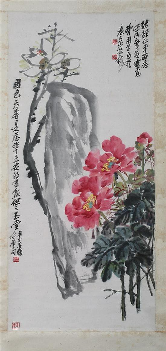 AFTER CAO YONGPING (Chinese, b. 1922). PEONY, ink and color on paper scroll, signed and sealed.