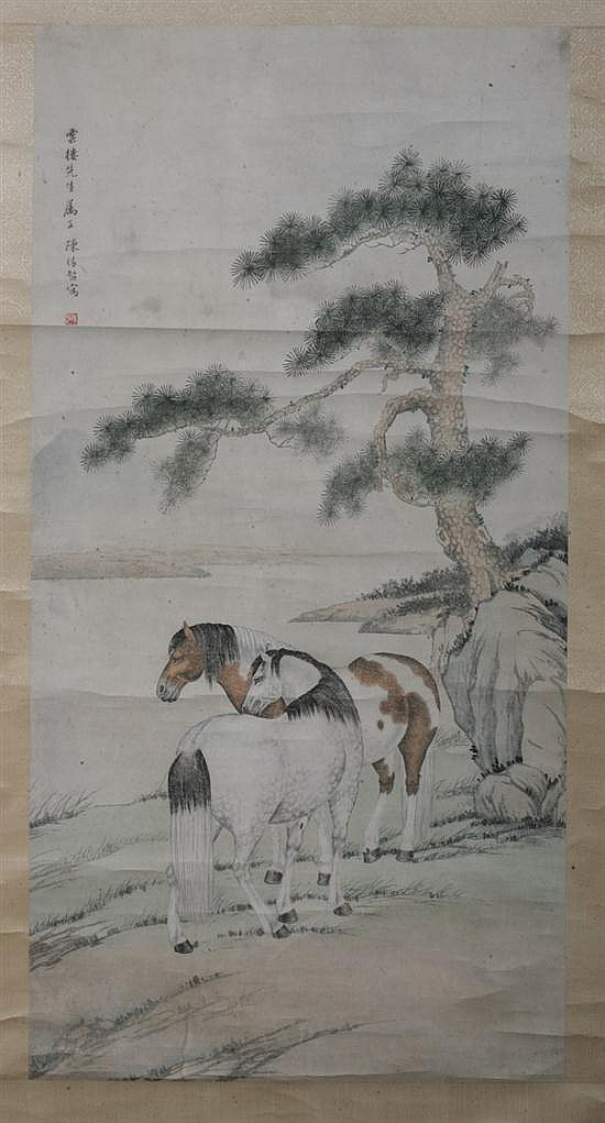 AFTER CHEN YUANDU (Chinese, 1902-1967). HORSES UNDER PINE TREE, ink and color on papaer scroll, signed and sealed.