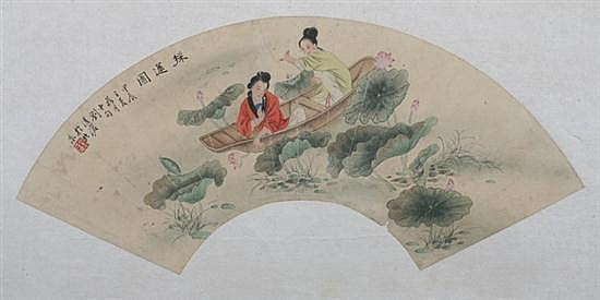 AFTER LIU LINGCANG; AFTER SHEN XINHAI (Chinese, 1906-1989; Chinese, 1855-1941). FIGURES, two ink and color on paper fan, signed and sea
