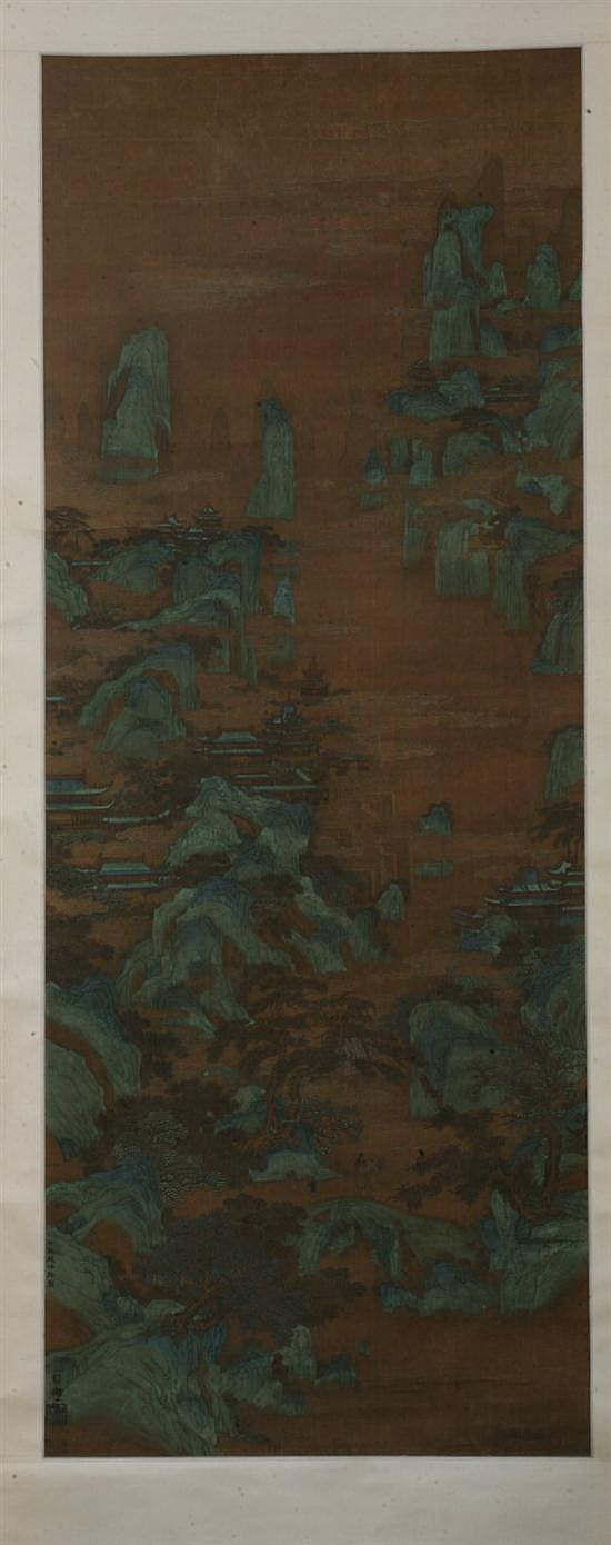 AFTER ZHAO BOJU (Chinese, 1120-1182). LANDSCAPE, ink and color on silk.