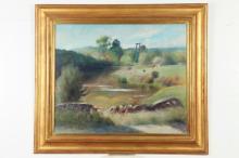 GUY PENE DU BOIS (American, 1884-1958). LANDSCAPE THROUGH STREAM, signed and dated 1942 lower left. Oil on canvas.