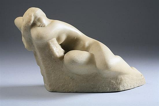 VINCENT GLINSKY (Russian/American, 1895-1975). Seated Nude, Alabaster, V. Glinsky signature.