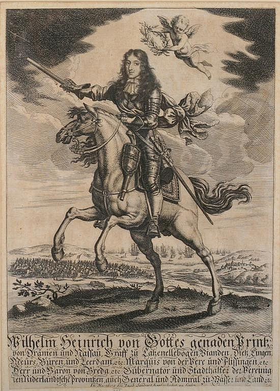 JACOB VON SANDRART (b. Frankfurt 1630 - d. Nuremberg 1708). William III, Copper plate engraving.