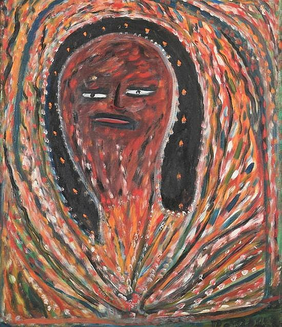 ROBERT SAINT-BRICE (Haitian, 1893-1973). VOODOO SPIRIT, signed lower right. Oil on board.
