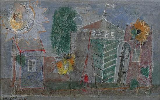 ERNST GEITLINGER (German, 1895-1972). SALVE, signed and dated '48 lower left. Oil on board.