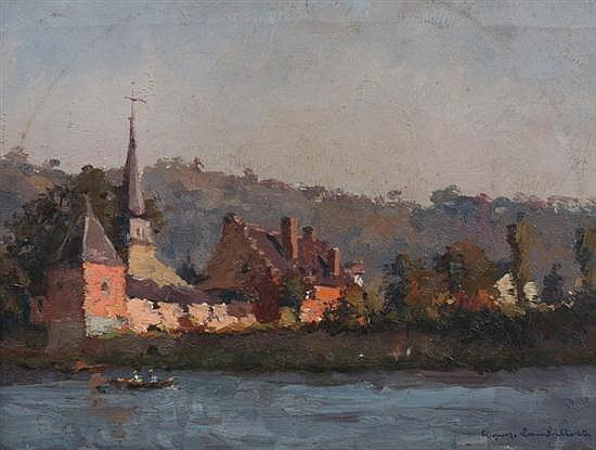GEORGE LAMBILLOTTE (Belgian, 1915-1998). RIVERSCENE WITH CHURCH, signed lower right. Oil on canvas.