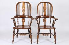 pair of 20th century english made oak windsor chairs earlymid 20th century