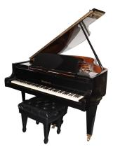 BOSENDORFER EBONY HIGH POLISH GRAND PIANO, MODEL #170, Circa late 1970's. #31977. Paper labels for Renner & Made in Germany. - Piano: