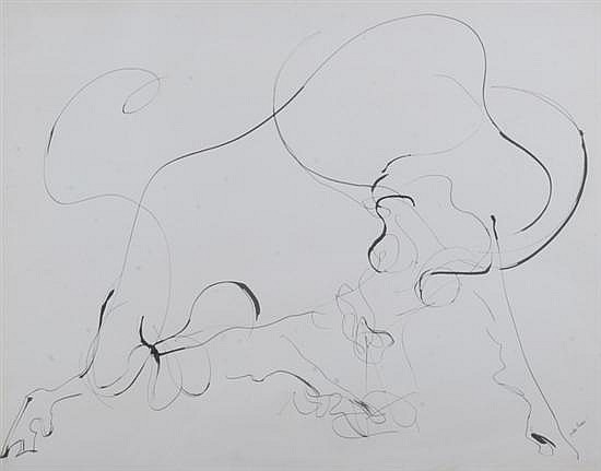 PIETRO LAZZARI (Italian/American, 1898-1979). BULL, signed lower right. Pen and ink on paper.