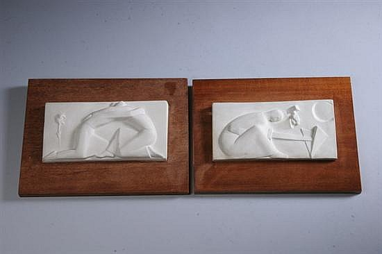 GEORGE AARONS (American, 1896-1980). PEACE and PSALM 85: TWO WORKS, each signed and titled upper edge. Plaster.