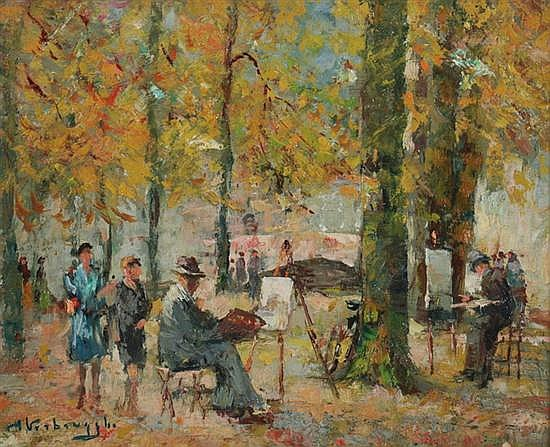 CHARLES VERBRUGGHE (Dutch, 1877-1974). PLEIN AIR ARTISTS IN PARK, signed lower left. Oil on panel.