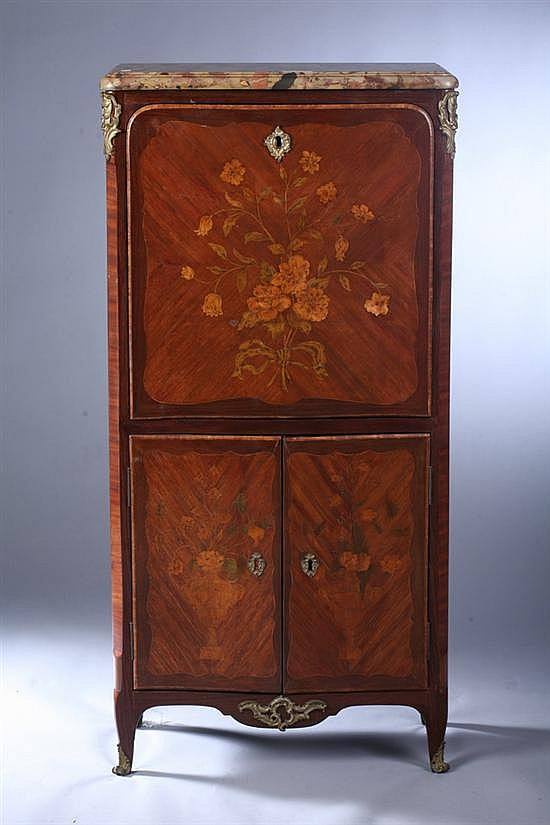LOUIS XV TUILPWOOD, PURPLEWOOD, BOIS SATINÉ AND FRUITWOOD MARQUETRY INLAID DIMINUTIVE SECRÉTAIRE À ABATTANT. circa 1760, possibly Roger