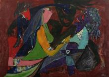 NARENDA PAL SINGH (Indian, 20th century). THREE WOMEN, Acrylic on canvas; signed lower middle, framed.