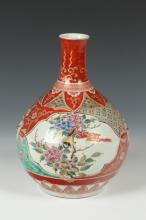 JAPANESE KUTANI PORCELAIN BOTTLE. - 10 1/8 in. high.