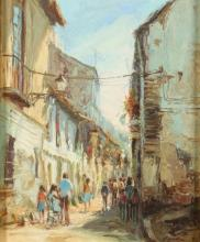 JULIAN E. OCANA. (Spanish, b. 1938). STREET SCENE, signed and dated 1977 lower right. Oil on canvas.