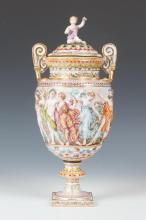 POLYCHROME CAPODIMONTE COVERED URN, 20th Century. Marked underglaze in blue with Crown and Neopolitan N Mark. - 14 6/8