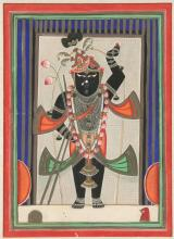ANONYMOUS (Indian, 19th Century). KRISHNA, Ink and color on paper.