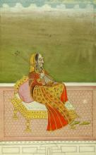INDIAN ILLUSTRATION OF A MUSICIAN WOMAN, - 5 3/4 in. x 4 in.