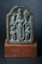 INDIAN BLACK STONE STELE, - 11 1/2 in. high.