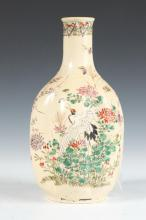 JAPANESE SATSUMA EARTHENWARE SAKE BOTTLE, Meiji Period. - 9 3/8 in high.