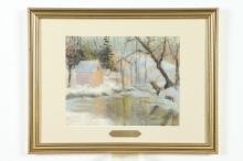 ELIZABETH FISHER WASHINGTON (American, 1871-1953). HOUSE ALONG SNOW COVERED CREEK, signed lower right. Pastel.