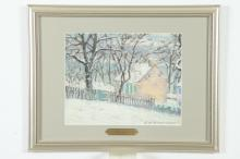 ELIZABETH FISHER WASHINGTON (American, 1871-1953). HOUSE IN SNOW, signed lower right. Pastel.